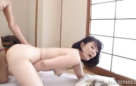 Naughty mature darling Hitomi Enjou is fucking mate while her husband is out of city