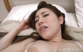 Classy busty mature cutie Akane Mizusaki's large round ass looks wonderful during the doggy style