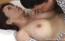 Mouthwatering bosomed mature Yuuko Kuremachi enjoys riding a strong and hard meat bazooka