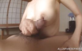 Sassy bitch Emiko Koike got super sexually excited while pussy tester was playing with her perfect tits