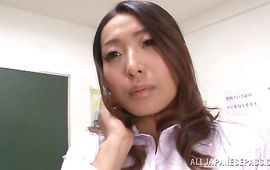 Worshipped bosomed mature hottie Miwako Yamamoto gets intensely plowed from behind