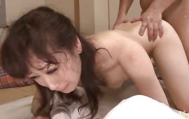 Glorious aged diva Yuu Kawakami gets her fishnet overspread copher drilled without mercy