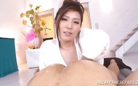 Charming bosomed mature Yuna Shiina with perky nipples is getting fucked good in many different positions