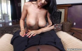 Ambitious breasty bombshell Romi Rain blows perverted buddy with pleasure