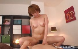 Dude descends in insatiable Rika Hoshimi's cooter for a sexy fuck