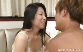 Delicious mature Rumiko Yanagi with big tits jumps on meat member like a real cowboy