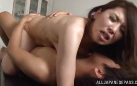 Ambitious Ayako Kirishima with curvy tits gets her slim aperture fiercely used