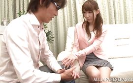 Delightsome girl Rei Aimi washes her voluptuous body for her brutal fucker