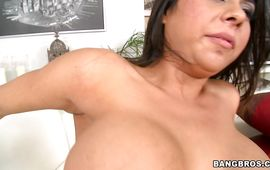 Luscious latin aged girlie Candi Cox with giant tits got down on her knees to suck boyfriend's stick like a pro