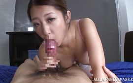 Sultry aged maid Satomi Suzuki with large tits receives a rough banging