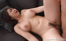 Prodigious big boobed mature sweetie Homare Momono sucks a stick like a pro