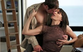 Sinful gal Dana DeArmond shows perky tits and perfect cooter to a hunk