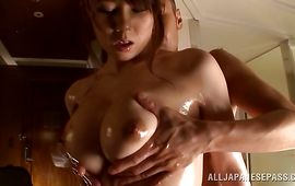 Indecent bosomed mature Maki Koizumi sucked a huge slim jim and then got fucked in the nice cherry