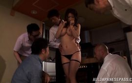 Kinky girlfriend Ayumi Shinoda got her dirty mouth filled up with a rock hard love rocket previous to she got fucked
