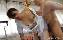 Seductive Hisae Yabe is about to have her 1st sex in a recent place