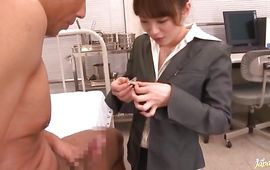 Luscious chick Miku Ohashi is getting fucked from the back instead of getting ready to go to work