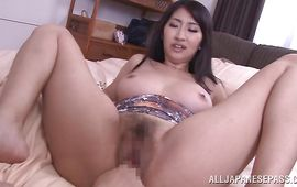 Succulent busty babe Marina Shiina bows over for her strong fuckmate