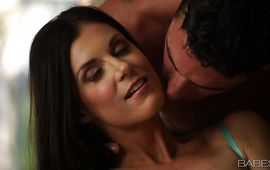 Extraordinary dark-haired India Summer is rubbing her perky clit while boy is stuffing her tang