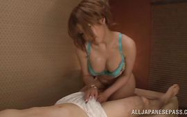 Brutal male is amazed by appetizing breasty gal Reira Akane's cock riding skills