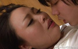 Mouthwatering big titted honey Nachi Kurosawa with perfect tits receives a huge dong