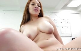 Fantastic bosomed girlie Mako Oda was in a bad mood but then playmate cummed to cheer her up