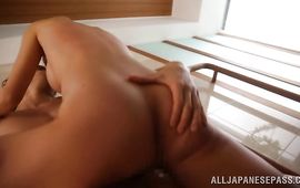 Cheerful mature playgirl Akari Asahina getting her puss plugged up deeply