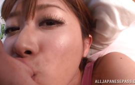 Savory Satou Haruka with big tits gives a hot naked oral-sex