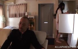 Fuckmate and wicked bimbo Emiri Okazaki are having sex on the sofa and moaning from pleasure while experiencing orgasms