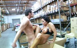 Slutty dark-haired woman Victoria Valentino teases a perverted guy