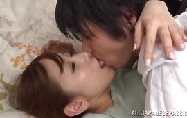 Lascivious mature maiden Erika Kitagawa fiercely slams her poontang on a big weenie
