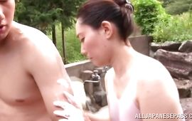 Lustful sweetie Mika Nanase is gently rubbing lover's lovestick and the fucking