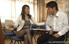 Beautiful Ayako Kirishima gives an oral stimulation to a hard stick
