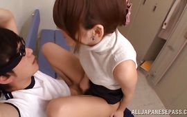 Playful Mikoto Tsukawa is eagerly engulfing her male's hard packing monster like a pro