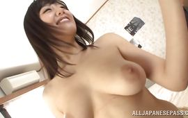 Amazing big titted playgirl Mao Hamasaki likes riding pussy tester