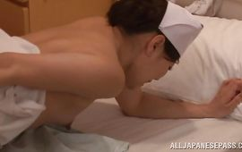 Stupendous housewife is gently massaging her clit while lad is fucking her like crazy