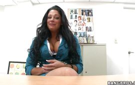 Elegant mature dark-haired Angela Aspen teases with her large milk cans