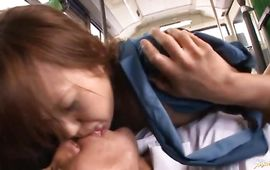 Aroused mature Nana Kunishi with gracious tits and boyfriend enjoying each single second of sex
