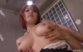 Lustful Sara with impressive tits loves attractive male's big prick