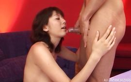Mouthwatering busty mature beauty Yuma Asami receives a huge shlong in her tight chick pot