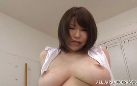 Slutty mature angel Anri Okita with round tits looks extremely sexy and incredible and hot