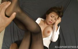 Outstanding mature Nanako Mori with curvy tits rides hung fuck strong dude