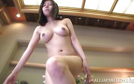 Wicked bosomed Chihiro Akino had sex and got cum all over her tits
