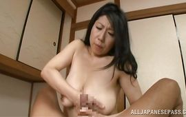 Stupendous bitch Rumiko Yanagi with massive tits is getting fucked and creampied in front of the camera just for the fun of it