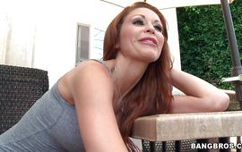 Racy redhead maiden Monique Alexander with wet sissy receives a giant ramrod