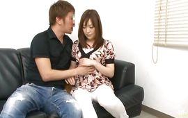 Wicked mature Reika Yoshizawa with large tits craves for pussy tester's chunky meat bazooka